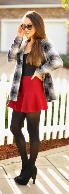 A Sunny Winter Day - Pim and Larkin Coat with Red High Waist Ruffle Flare Skirt / Hapa Time