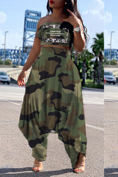Lovely Trensy Camouflage Printed Army Green Two-piece Pants Set Two Piece Pants Set, Two Piece Outfit, Cute Comfy Outfits, Classy Outfits, Stylish Outfits, Cute Fashion, Unique Fashion, Women's Fashion, Fashion Trends