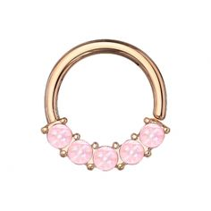 Spikes Coloured bendable multi-purpose front facing gem lined piercing ring – mm – Rose Gold – Opal White Piercing Ring, Ring Rosegold, Labret Studs, Silver Nose Ring, Diamond Shapes, Round Beads, Really Cool Stuff, Rose Gold, Rings