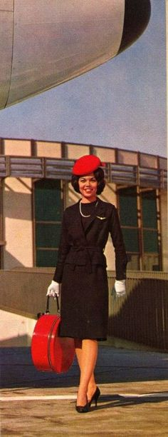 We Are Continental - 1960s. this uniform was the best...red hat box, pearls and gloves! [click for more photos]