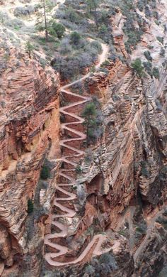 Walter's Wiggles, Zion National Park, Utah, USA. They are part of the trail ascent to the top of Angel's Landing. The wiggles are named after Walter Ruesch, who was the first superintendent for Zion National Park and constructed the switchbacks in 1926 Places To Travel, Places To See, Places Ive Been, Places Around The World, Around The Worlds, Zion National Park, Zion Park, Parcs, Death Valley