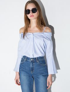 its back !! Strappy off the Shoulder Stripe Cotton Shirt #ots #ootd #fashion #pixiemarket