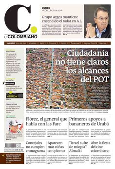 Portada de El Colombiano para el lunes 25 de agosto de 2014