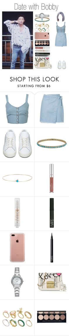 """""""Date with Bobby"""" by yonce4park ❤ liked on Polyvore featuring Topshop, adidas Originals, Irene Neuwirth, Loren Stewart, MILK MAKEUP, NARS Cosmetics, Belkin, Armitron, Furla and ASOS"""