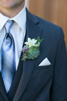 Modern groom's boutonniere idea - succulent surrounded by greenery {Cadey Reisner Weddings}