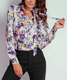 Look at this #zulilyfind! NAOKO Blue & Purple Floral Tie-Neck Top by NAOKO #zulilyfinds
