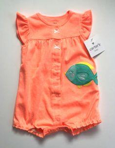 Carter's Romper Peach Orange Fish Creeper Infant Baby Girl 3 mo