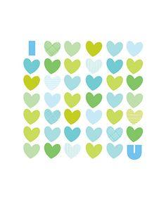 Aqua I Love You Print