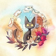 Jiji from Kiki's Delivery Service Studio Ghibli Waterocolor Poster Print Totoro, Kiki Delivery, Kiki's Delivery Service, Studio Ghibli Art, Studio Ghibli Movies, Hayao Miyazaki, Tattoo Samurai, Wal Art, Howls Moving Castle