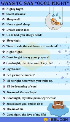 List of many different ways to say GOOD NIGHT for your daily English conversations. Learn these cute good night texts to improve your communication skill in English. English Writing Skills, Learn English Grammar, English Vocabulary Words, Learn English Words, English Phrases, English Idioms, English Language Learning, Teaching English, Improve English Speaking