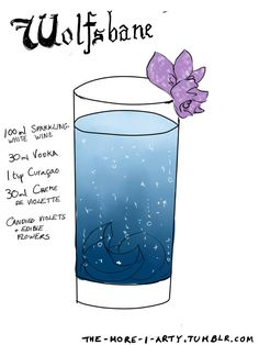 """the-more-i-arty: """"I dunno I got an ask about my Hogwarts house cocktails today and felt inspired to do some more, based on potions this time. Harry Potter Cocktails, Harry Potter Food, Harry Potter Theme, Party Drinks, Cocktail Drinks, Fun Drinks, Alcoholic Drinks, Beverages, Cocktail Recipes"""