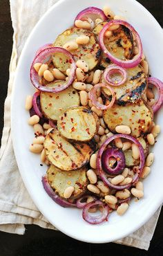 Tons and tons of ideas for FREEZER meals for the Crockpot! Grilled Potato & Cannellini Bean Salad ultimate twice baked potatoes Eggplant Par. I Love Food, Good Food, Yummy Food, Tasty, Cannellini Bean Salad, Garbanzo Bean, Whole Food Recipes, Cooking Recipes, Grill Recipes