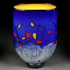 "Luminous Lapis by Eric Bladholm (Art Glass Vase) (14"" x 9.5"")"