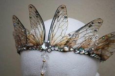 Enchanting and ethereal Fairy Queen Fairy Wing / Bride / Prom / Pagan Tiara / Crown / Head . - Enchanting and ethereal Fairy Queen Fairy Wing / Bride / Prom / Pagan Tiara / Crown / Headdress - Lace Bridal, Wedding Veils, Bridal Headpieces, Wedding Hair, Bridal Hair, Fairy Queen, Circlet, Fantasy Jewelry, Fantasy Hair