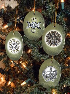 Set of Four Magical Symbols, Collection II, Yule/Winter Solstice Ornaments Pagan Christmas, Christmas Time, Christmas Crafts, Christmas Bulbs, Yule Decorations, Christmas Decorations, Yule Celebration, Pagan Yule, Yule Crafts