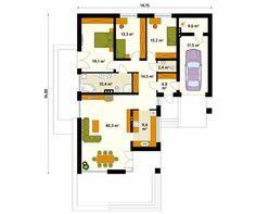 Projekt domu Neptun 5 - rzut parteru Planer, Bungalow, My House, House Plans, Floor Plans, Real Estate, Layout, How To Plan, Projects