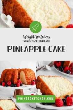 This 3 ingredient Pineapple Angel Food Cake is just 5 SmartPoints per portion on all of the Weight Watchers plans. An easy, delicious WW dessert recipe. Weight Watchers Pasta, Weight Watchers Plan, Weight Watchers Desserts, Ww Recipes, Lunch Recipes, Cake Recipes, Dessert Recipes, Pineapple Angel Food, Ww Desserts