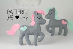 Horse Sewing Pattern - Felt Horse Pattern - Pony Sewing Pattern -  Softie - Plush - Toy - Topper - Baby Mobile - Animal Pattern - Ornament