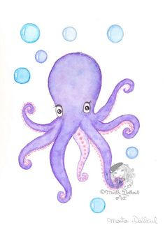 Octopus art print.  This is a print of an original watercolor painting of a baby octopus. Its part of the Under the Sea collection. Cute, refreshing and whimsical art, perfect for children rooms, nursery or bathroom.  Print is sold unframed. Signed, dated and titled on the back. It ships well protected in a cellophane sleeve inside a rigid envelope.  Watermark will not show on the actual print.  Colors may vary from what you see on your screen.  More under the sea art…