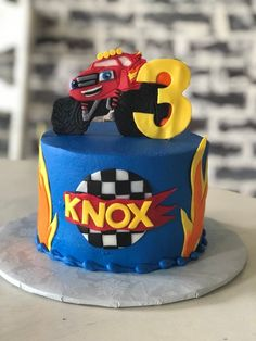 Best Ideas monster truck cake with flames Torta Blaze, Blaze Cakes, Blaze Birthday Cake, 3rd Birthday Cakes, 4th Birthday, Monster Truck Birthday, Monster Trucks, Blaze And The Monster Machines Cake, Pastel Cupcakes