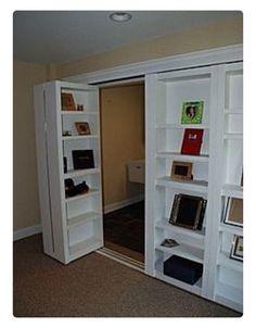 Bookshelf closet doors — HOW is it possible I never thought of this? Bookshelf closet doors — HOW is it possible I never thought of this? Bookshelf Closet, Bookcase Door, Bookcases, Office Bookshelves, Door Shelves, Closet Storage, Closet Bed, Bookshelf Wall, Hallway Closet