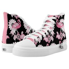 Pink Flamingo Girly Cool Black High-Top Sneakers #shoes #original #design
