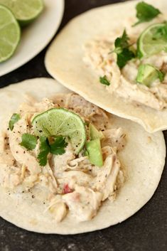 Salsa Verde Lime Tacos recipe - Six Sisters' Stuff | Easy, healthy crockpot dinner or snack for game day. #sixsistersrecipes #dinner #maindish #snacks #gamedayfood