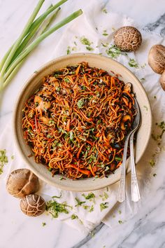 Caramelized Soy Sauce Noodles with Sweet Potato & Mushrooms, by…