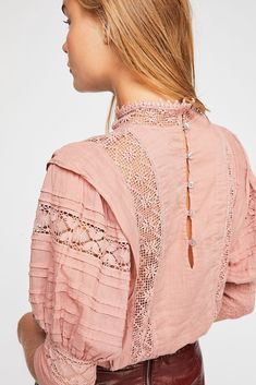 FP One Sydney Blouse - Light Pink Intricate Lace Blouse with Puffed Sleeves Retro Fashion, Girl Fashion, Vintage Fashion, Fashion Outfits, Womens Fashion, Fashion Design Sketches, Western Dresses, Casual Street Style, Blouse Styles