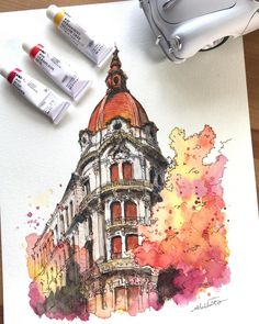 """culturenlifestyle: """"Watercolor Portraits by Akihito Horigome Keep reading """" - zeichnen - Watercolor Architecture, Architecture Sketchbook, Art Sketchbook, Art And Architecture, Victorian Architecture, Architecture Portfolio, Contemporary Architecture, Architecture Illustrations, Building Illustration"""