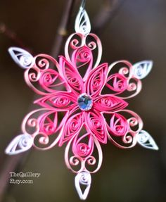 Handmade Quilled Pink Snowflake
