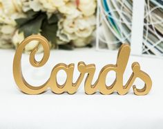 """Wedding Cards Sign for Cards Table - Freestanding """"Cardss"""" - Wooden Wedding Sign for Reception Decorations (Item - TCA100) on Etsy, $22.00"""