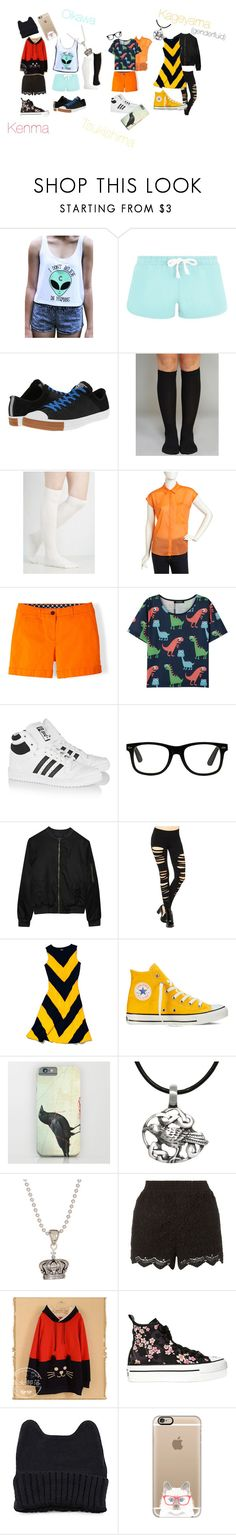 """""""Casual cosplay Haikyuu!!: Kenma, Oikawa, Tsukishima and Kageyama (genderfluid)"""" by drkittyvonscooper ❤ liked on Polyvore featuring Converse, Wet Seal, Jennifer Lloyd, Boden, adidas Originals, Alygne, Slater Zorn, Carolina Glamour Collection, Lagos and Moriville"""