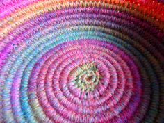 """. This week I experimented with crocheting over clothesline cord to make a bowl with a """"coiled basket"""" look. UPDATE: For more detailed instructions go to Crochet Coiled Basket Experiment Guidelines..."""