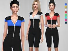 A trendy sporty jumpsuit . Found in TSR Category 'Sims 4 Female Everyday' The Sims, Sims 1, Suits For Women, Clothes For Women, Women's Clothes, Sims 4 Black Hair, Sims 4 Dresses, Sims 4 Cc Skin, Play Sims