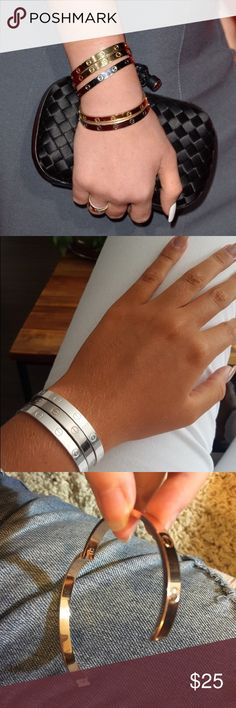 This bracelet opens and closes and does not need a screw or screw driver. *please see my other bangles if that's what your looking for* Jewelry Bracelets Handmade Jewellery, Fashion Design, Fashion Tips, Fashion Trends, Anklets, Bangle, Jewelry Bracelets, Pretty, Accessories
