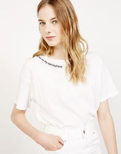 Bershka Malaysia - Printed sleeve and neckline top 30.00