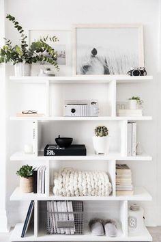 Shelves white open shelves styling a shelf decor in 2019 soverom dekor, h. Home Decor Bedroom, Living Room Decor, Bedroom Ideas, Decor Room, Bedroom Designs, Entryway Decor, Bedroom Furniture, Living Spaces, Dining Room