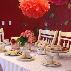 tea party table:: lots of luscious recipes! Tea Party Table, Happy Party, Party Table Decorations, Tea Party Birthday, Party Entertainment, My Tea, Diy Table, Vintage Tea, Party Time