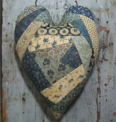 Crazy Quilt Heart  Hanger Blue and White Folk Art. $22.00, via Etsy.