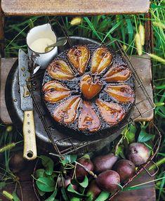 Chocolate, hazelnut & pear upside-down cake - donna hay Pear Recipes, Wine Recipes, Sweet Recipes, Hazelnut Recipes, Pear Dessert, French Dessert Recipes, Pear And Chocolate Cake, Chocolate Hazelnut, Cheesecakes