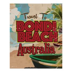 Shop Bondi Beach Australia Vintage vacation Poster Postcard created by bartonleclaydesign. Personalize it with photos & text or purchase as is! Bondi Beach Australia, Australia Day, Beach Fonts, Tourism Poster, Beach Design, Vintage Travel Posters, Beach Art, Custom Posters, Postcard Size