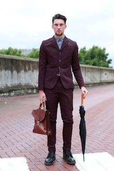 From London's Graduate Fashion Week Matt Busbridge, graduate in fashion promotion at UCA Suit: ASOS Bag: House of Fraser Shirt: Ben Sherman Boots: Dr. Martens