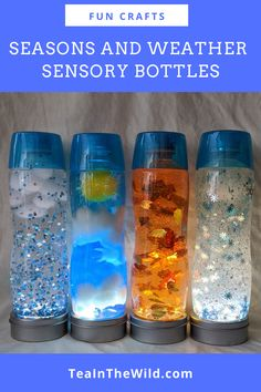 This Seasons and Weather Sensory Bottle set captures something unique about each season: spring rain, summer sky, autumn leaves, and winter snow. Sensory Bottles For Toddlers, Sensory Bottles Preschool, Sensory Wall, Sensory Activities, Infant Activities, Sensory Boards, Infant Sensory, Sensory Bins, Winter Activities