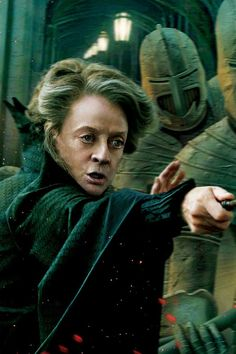 """McGonagall. I love how in the book when Harry showed up in Hogwarts, and told her Voldemort was on the way, she didn't even blinked. She immediately went into """"well, let's get this party started"""" mode, armed the school, and fucked shit up!"""