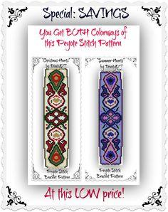 BP-ART-026, 026a - Christmas & Summer Hearts - Peyote Pattern,  Peyote Bracelet pattern, beadweaving tutorial, bracelet pattern