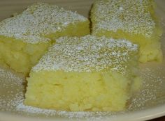 Two Ingredient Lemon Bars- 1 box of angel food cake mix, 2 cans lemon pie filling (two 21 oz. for a total of 42 oz.)  Mix dry cake mix and cans of pie filling together in large bowl.  Pour into greased 9 x 13″ baking pan.  Bake at 350 degrees for 25 minutes or until top is starting to brown.   Cool on wire rack and sprinkle with powered sugar. It has a melt in your mouth spongy texture.