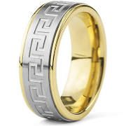 West Coast Jewelry Crucible Goldplated Stainless Steel Silvertone Greek Key Band Ring - Silver (10), Men's