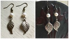 Handmade Upcycled Light Brass Leaf Earrings with Pearl Accent ($12)