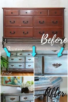 here are a few furniture makeovers that entirely repurposed the furniture and will leave you in awe: Blue Painted Furniture, Refurbished Furniture, Paint Furniture, Repurposed Furniture, Furniture Projects, Lewis Furniture, Upcycled Furniture Before And After, Furniture Design, Furniture Chairs